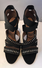 Alaia Embellished Suede and Elastic Sandals <BR> Size 40.5