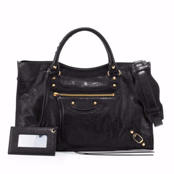 Balenciaga Giant 12 City Black Lambskin Shoulder Bag