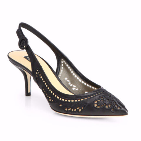 Dolce & Gabbana Leather & Lace Cutout Slingback Pumps <br> Size  39 & 40