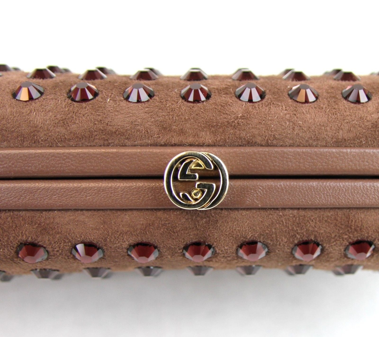 Gucci Broadway Suede Evening Clutch with Crystal Studs