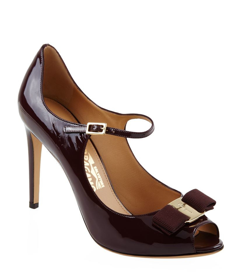 Salvatore Ferragamo Mood Patent Peep Toe Pumps Plum <br> Sizes 39, 40, 41 & 41.5