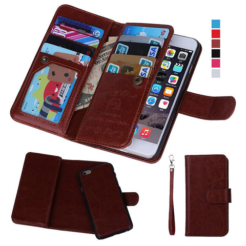 Magnetic Detachable Wallet Full Body Leather Case with Card Slots For iPhone 5 5S 6 6S Plus 7 7 Plus