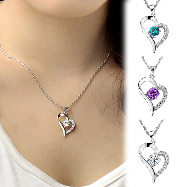You Are the Only One in My Heart Rhinestone Pendant & Chain Heart shaped Necklace