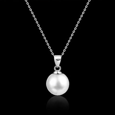Cute Imitation Pearl Alloy Long Pendant Necklace For Women