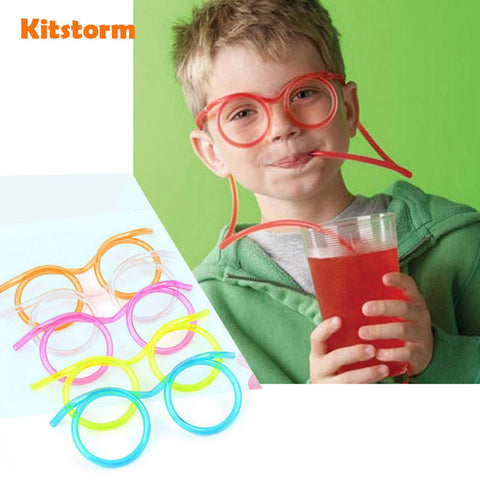 Funny  Soft Plastic Straw Glasses Unique Flexible Drinking Tube Kids