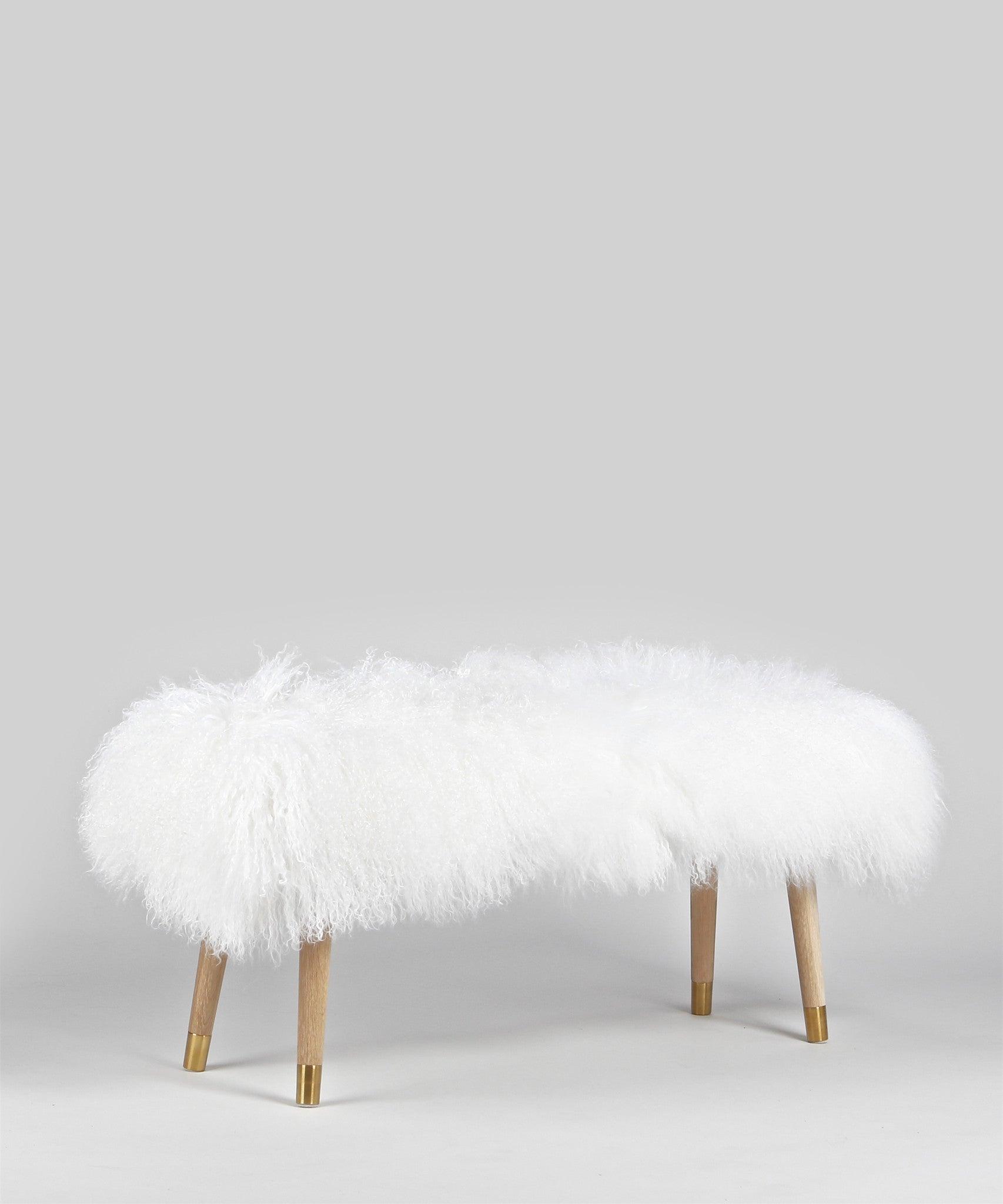 Phenomenal Mongolian Lamb Fur Banquette Bench White Interniture Squirreltailoven Fun Painted Chair Ideas Images Squirreltailovenorg