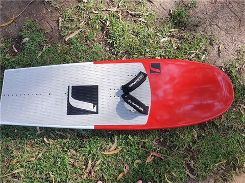 USED J SHAPE 155 LEARNER BOARD. RED AND WHITE