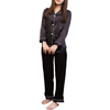 Ritzy Black Long Sleeve Pajamas Set Solid Piping Front Button @ Daloah.com
