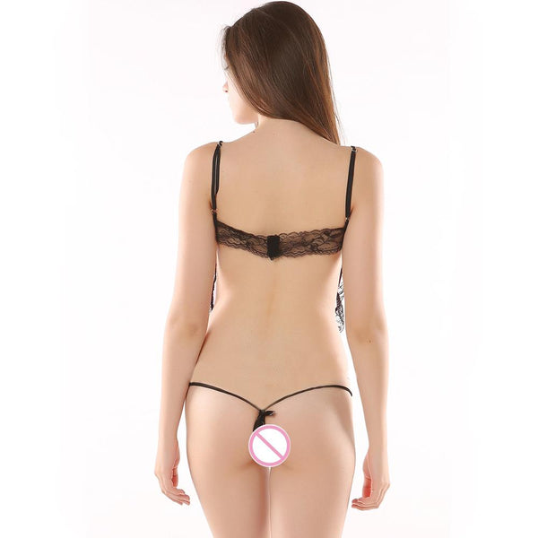 Young Girl Sexy Babydoll Lingerie Set with Eye Mask Show Nipping G-string Pants for Women @ Daloah.com