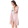 T Vest Shorts Three Piece Slik Robe Nightwear @ Daloah.com