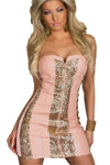 Sparkling Gold Sequin Strapless Cocktail Dress Pink @ Daloah.com