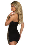 Sparkling Gold Sequin Strapless Cocktail Dress Black @ Daloah.com