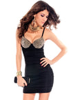Punk Rivets Bra Top Club Dress Black @ Daloah.com