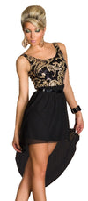 Women Black Dress Sequin Patch work Sexy Party Chiffon Dress @ Daloah.com