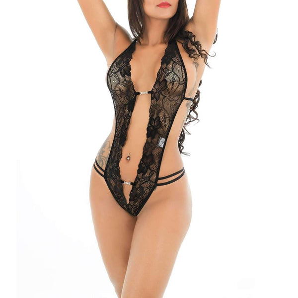 Skimpy Two Clasp Front Halter Lace Teddy Open Back And Real @ Daloah.com