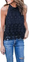 Womens Summer Loose Casual Chiffon Lace Sleeveless Vest Shirt Tops Blouse Ladies Tops @ Daloah.com