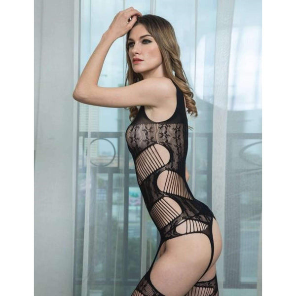 Black Flower Lace Bodystocking Open Crotch Ladies @ Daloah.com