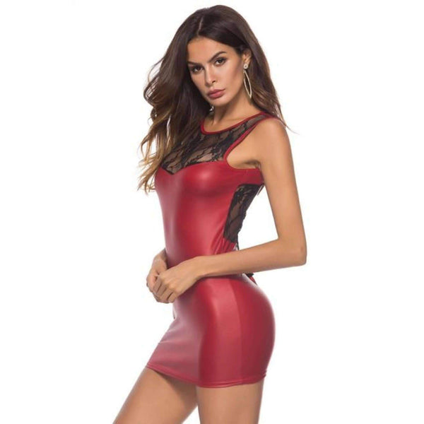 Provocative Red Sleeveless Patchwork Leather Dress Lingerie Ultra Cheap @ Daloah.com