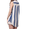 Women Casual Sleeveless V Neck Button up Color Block Stripes Blouse Tops @ Daloah.com