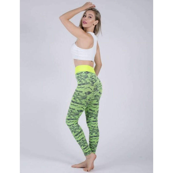Ultra Cheap Yellow Yoga Butt Lift Tights Camo Leopard @ Daloah.com