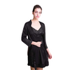 Enjoy Black V-Neckline Lace Nightgown And Robe Set Slimming @ Daloah.com