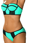 Fancy printed swimsuit fabric Green two piece green swimsuit @ Daloah.com