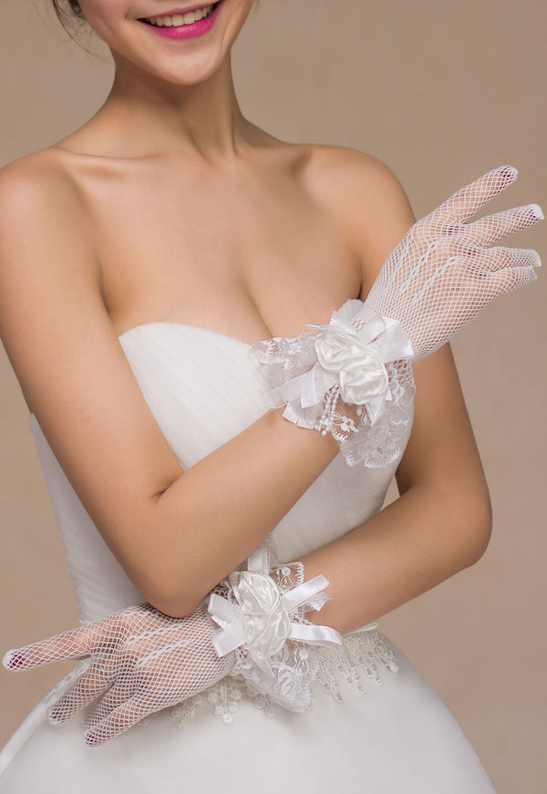 Off White Satin Rose Accent Short Fishnet Gloves @ Daloah.com