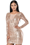 Open Back Long Sleeve Sequin Dress @ Daloah.com