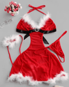 Excellent Red Backless Christmas Lingerie Sets Ties Back Home Dress @ Daloah.com