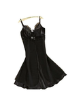 Women Lingerie Satin Lace Chemise Nightgown V Neck Nightwear Backless Sleepwear @ Daloah.com