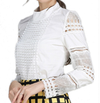 Large size women's cotton long-sleeved white bottomed slim cotton hook flower hollow lace shirt shirt @ Daloah.com