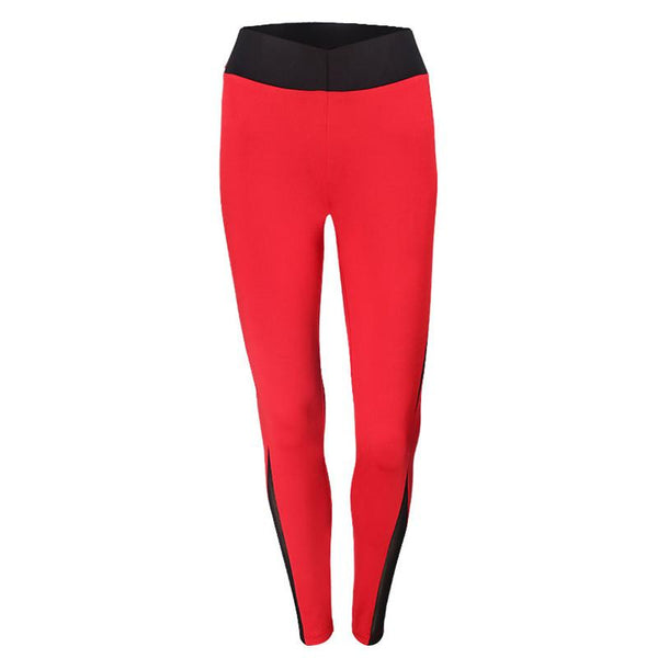 Women Red Stitching Mesh Workout Sports Leggings Red Wide Waistband Breath @ Daloah.com