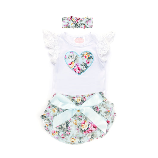 Ariana Short Sleeve Top & Ruffle Bloomer Set with Headwrap (Sizes 0000-1 = 5 Sets)