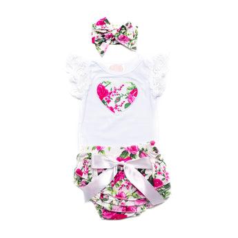 Bella Short Sleeve Top & Ruffle Bloomer Set with Headwrap (Sizes 0000-1 = 5 sets)