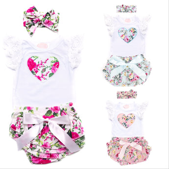 Mixed Short Sleeve Top & Ruffle Bloomer Set (Sizes 0000-1 = 5 Sets)
