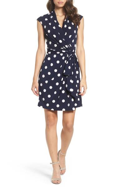 ELIZA JPolka Dot Jersey Faux Wrap Dress