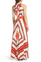 ELIZA J Scarf Print Crêpe de Chine Fit & Flare Maxi Dress
