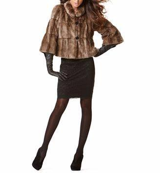 INC International Concepts Three Quarter Sleeve Faux Fur Cropped Swing Jacket