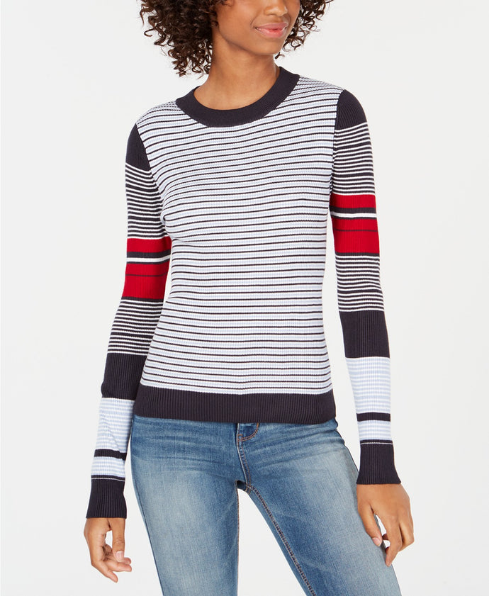 Freshman Juniors' Multi-Striped Pullover Sweater
