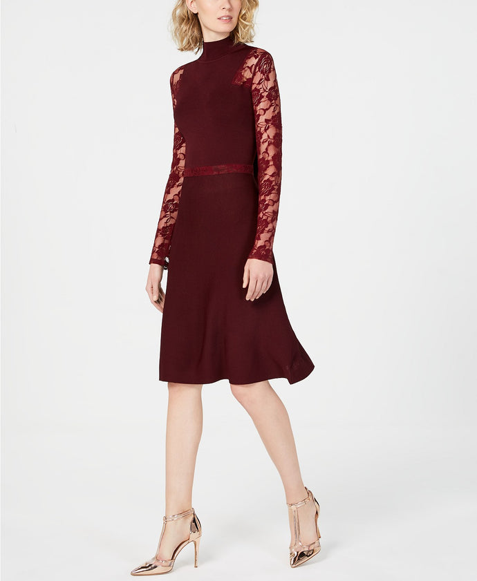 I.N.C. Lace-Sleeve Sweater Dress
