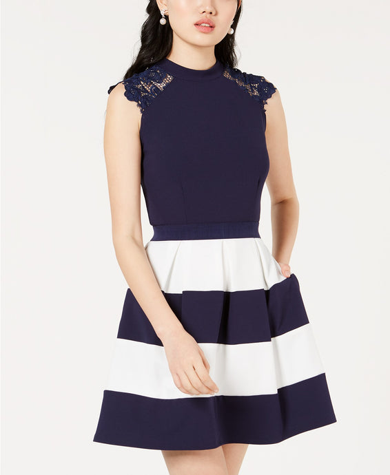 Speechless Juniors' Lace-Trim Fit & Flare Dress