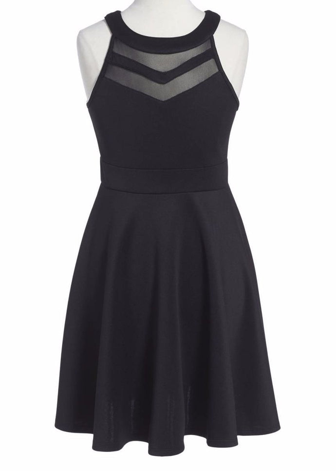 LOVE, NICKIE LEW Mesh Inset Skater Dress