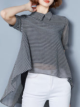 Sicily- Black Chiffon Asymmetric Striped Blouse