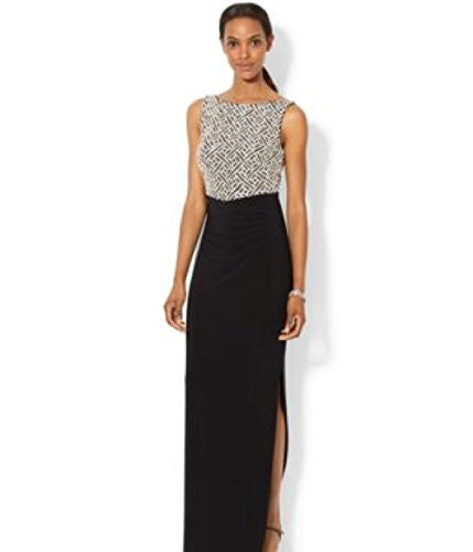 Lauren Ralph Lauren Womens Ednella Matte Jersey Sequined Evening Dress