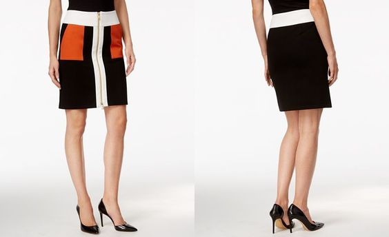 International Concepts Colorblocked Zip-Front Pencil Skirt