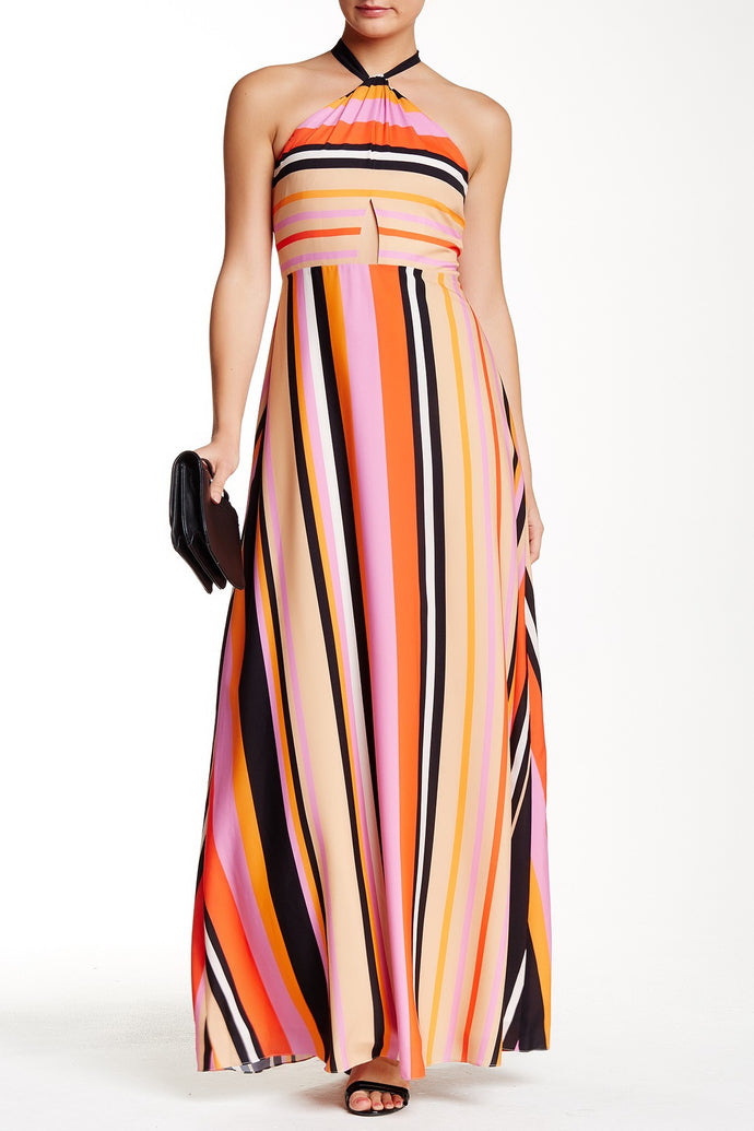 Phoebe Couture Sleeveless Halter Striped Gown. A Kay Unger New York ...