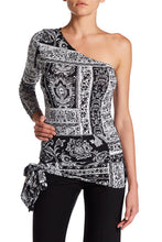Julian Chang Lisa Print One-Shoulder Jersey Blouse