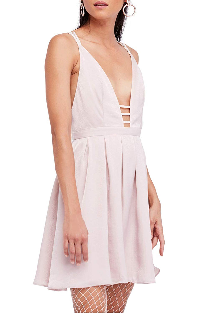 Free People Womens Gabby Satin Party Mini Dress Beige