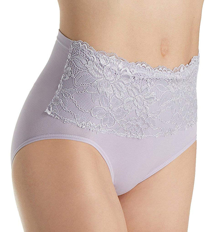 Rhonda Shear Seamless Brief Panty with Lace Overlay