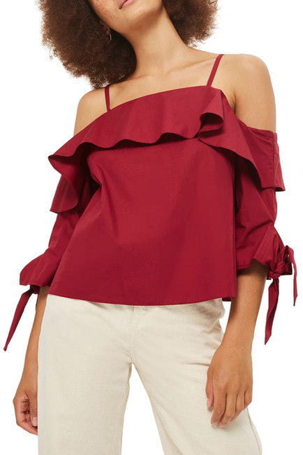Ruffle Off the Shoulder Top By TOPSHOP